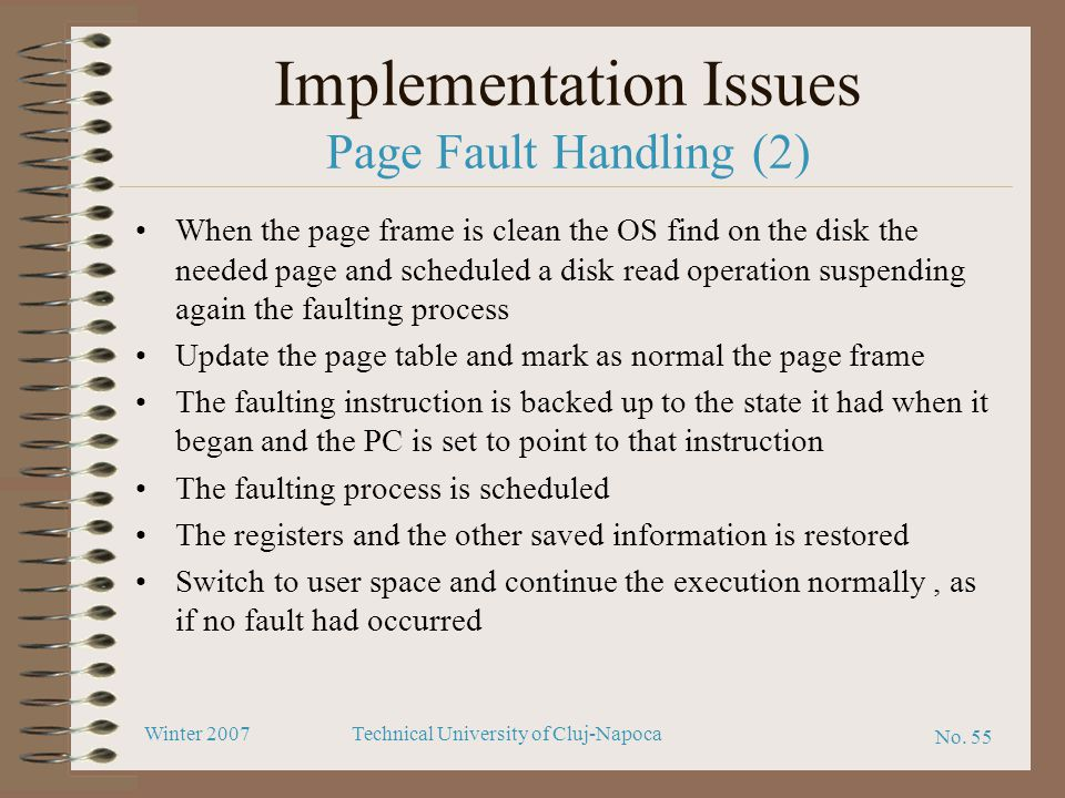 Implementation Issues Page Fault Handling (2)