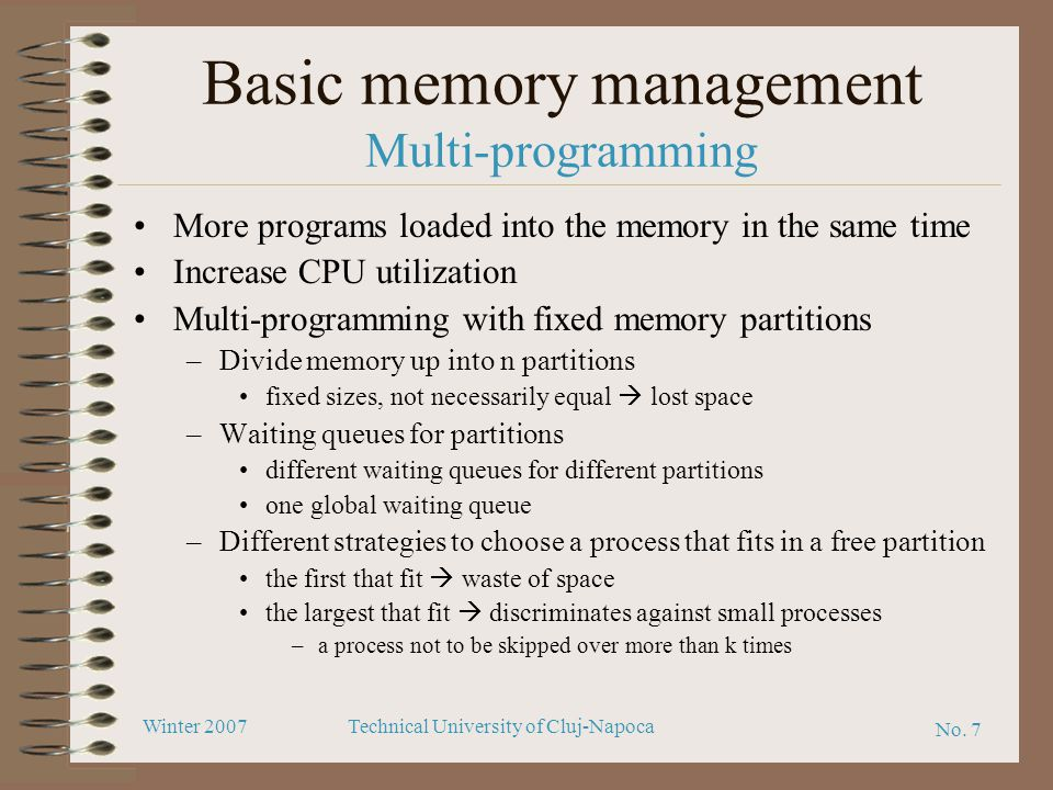 Basic memory management Multi-programming