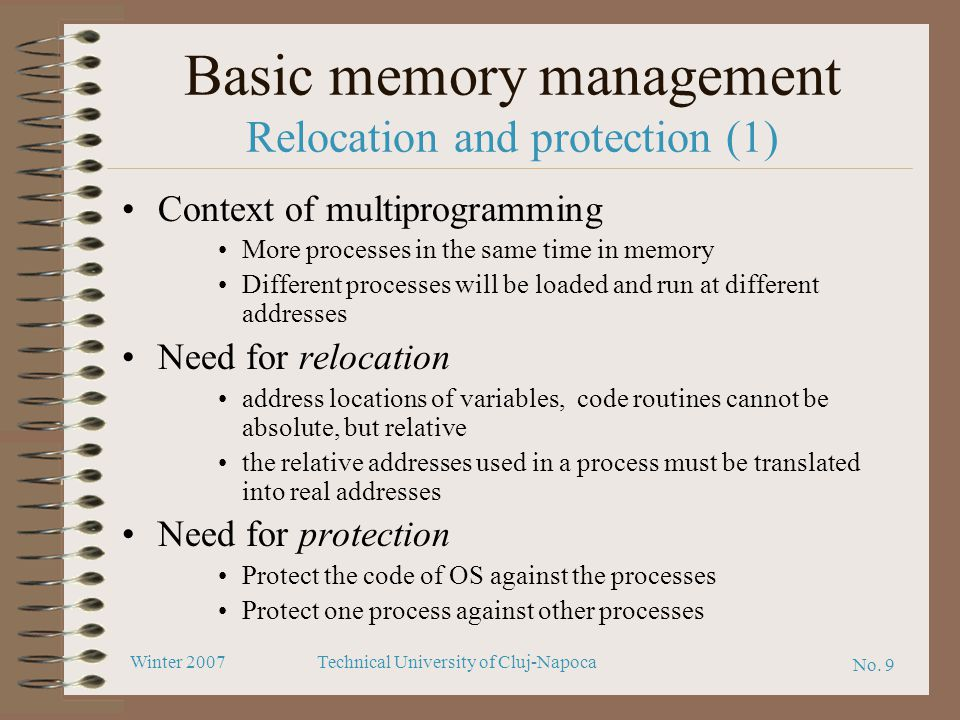Basic memory management Relocation and protection (1)