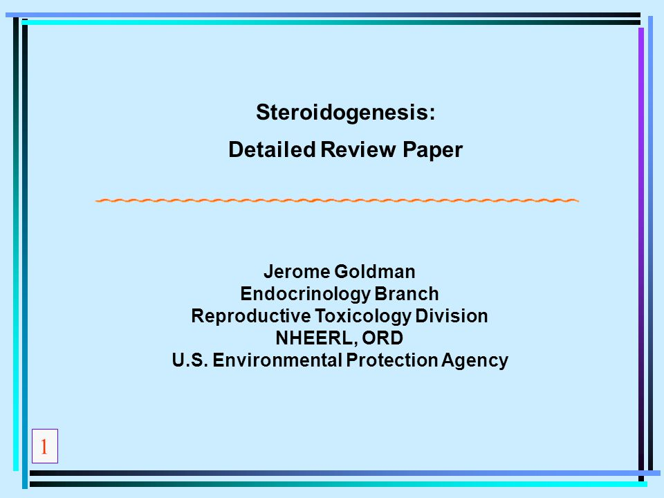 Reproductive Toxicology Division U.S. Environmental Protection Agency