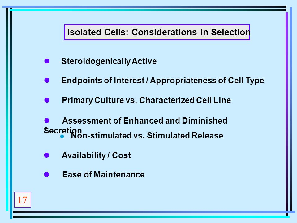17 Isolated Cells: Considerations in Selection