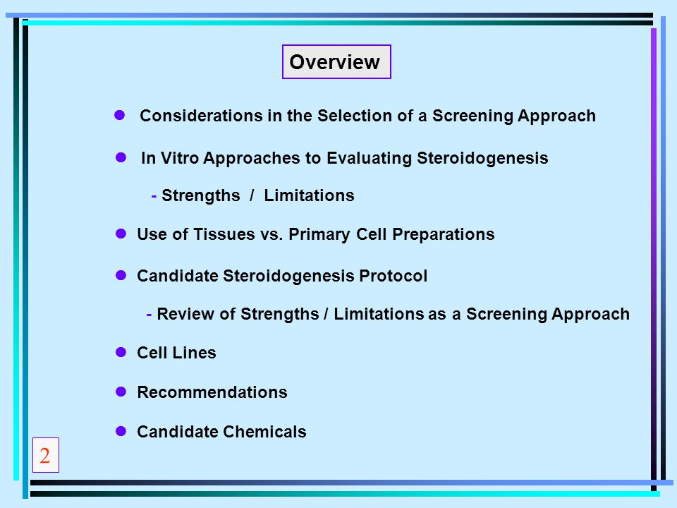 2 Overview l Considerations in the Selection of a Screening Approach