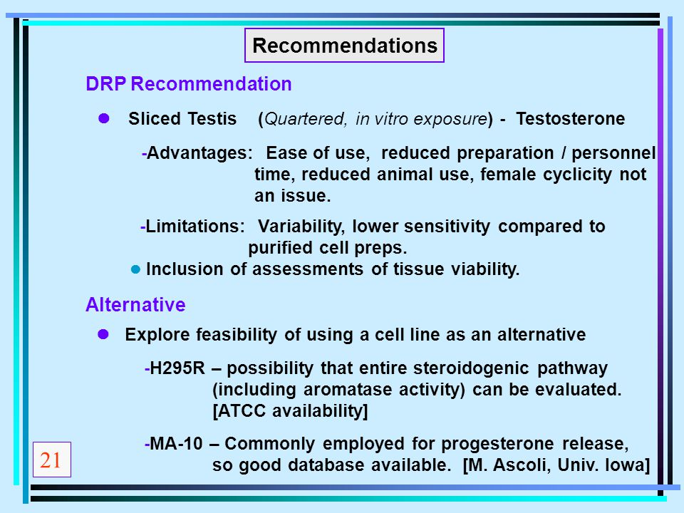 21 Recommendations DRP Recommendation Alternative