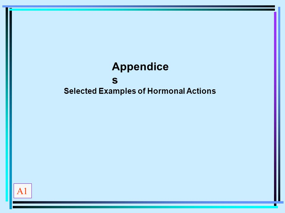 Appendices Selected Examples of Hormonal Actions A1