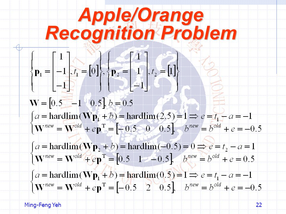 Apple/Orange Recognition Problem