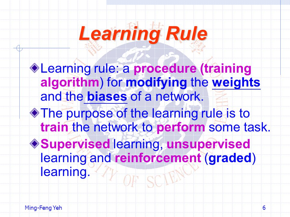 Learning Rule Learning rule: a procedure (training algorithm) for modifying the weights and the biases of a network.