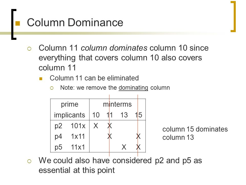 Column Dominance Column 11 column dominates column 10 since everything that covers column 10 also covers column 11.