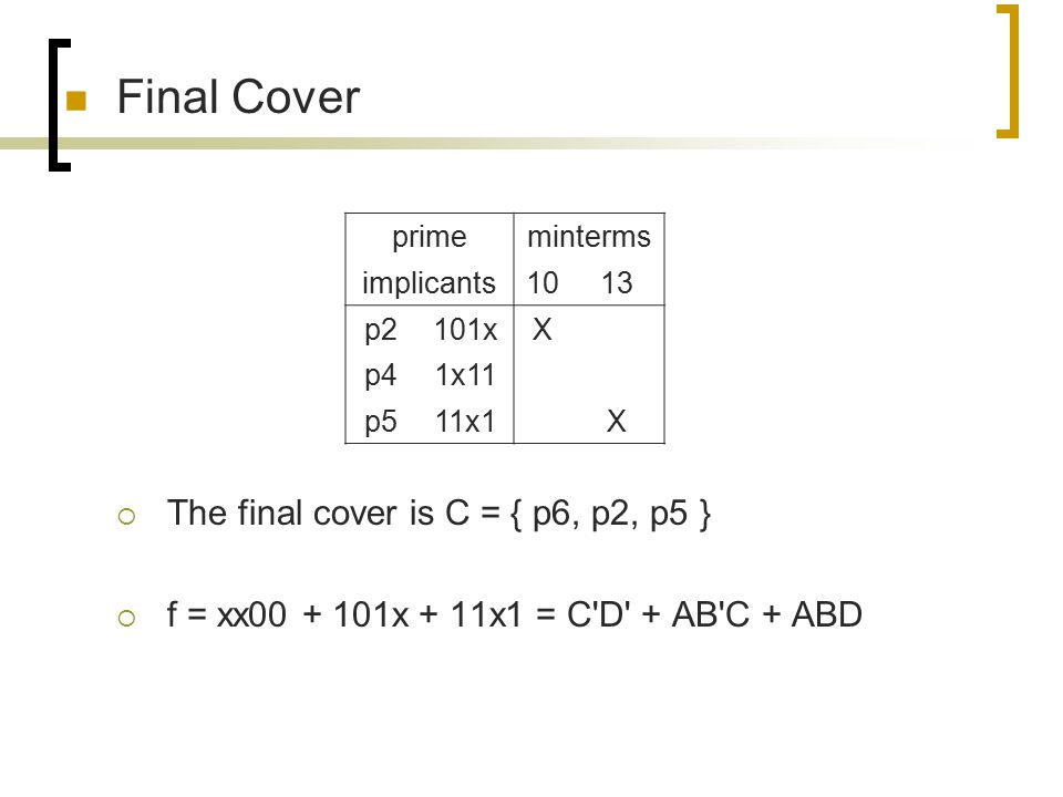 Final Cover The final cover is C = { p6, p2, p5 }