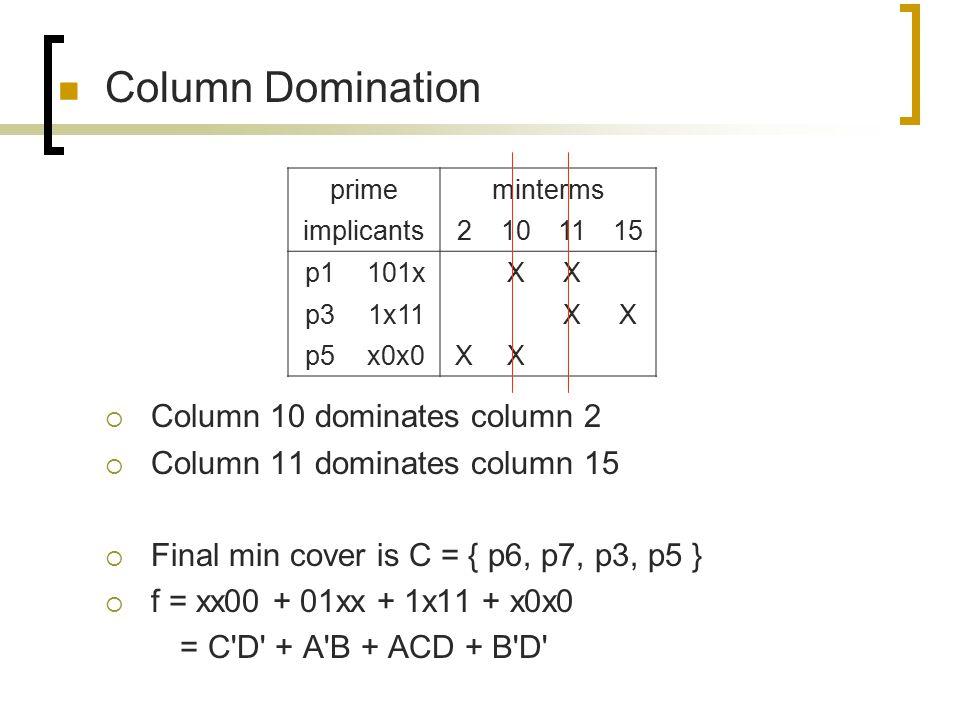 Column Domination Column 10 dominates column 2