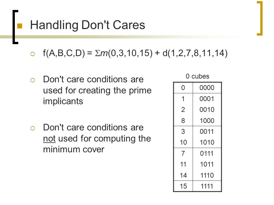 Handling Don t Cares f(A,B,C,D) = m(0,3,10,15) + d(1,2,7,8,11,14)