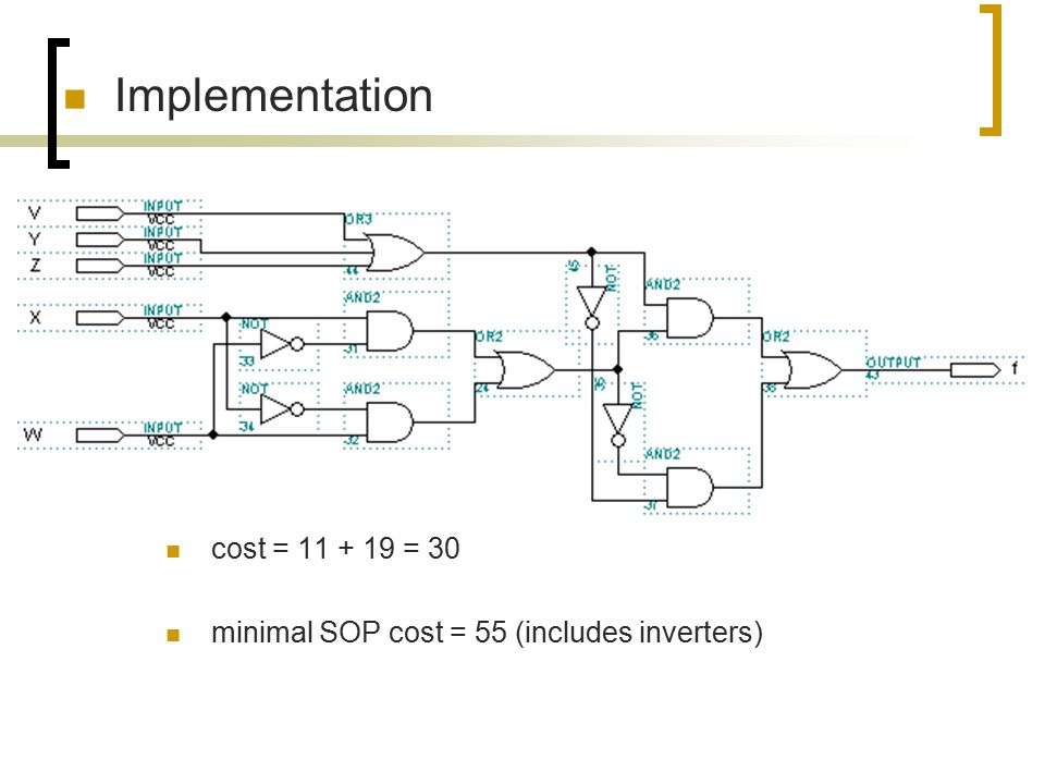 Implementation cost = 11 + 19 = 30