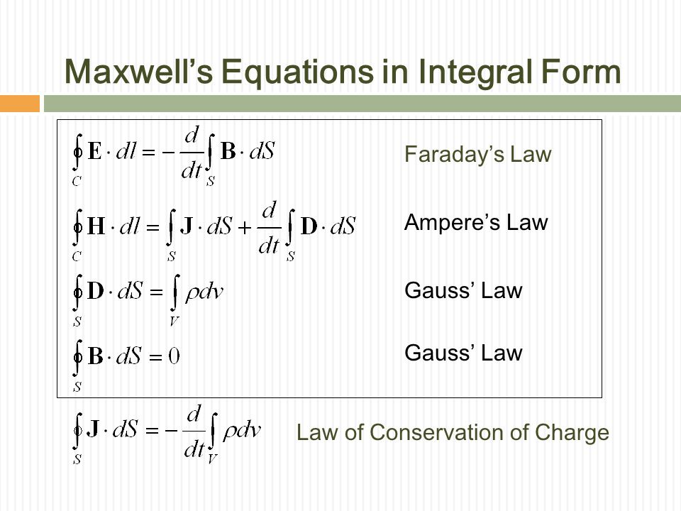 Maxwell's Equations in Integral Form