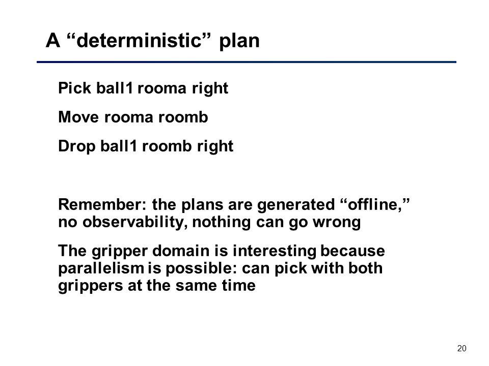 A deterministic plan