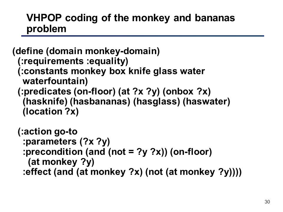 VHPOP coding of the monkey and bananas problem
