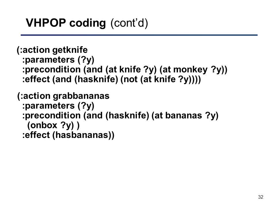VHPOP coding (cont'd)