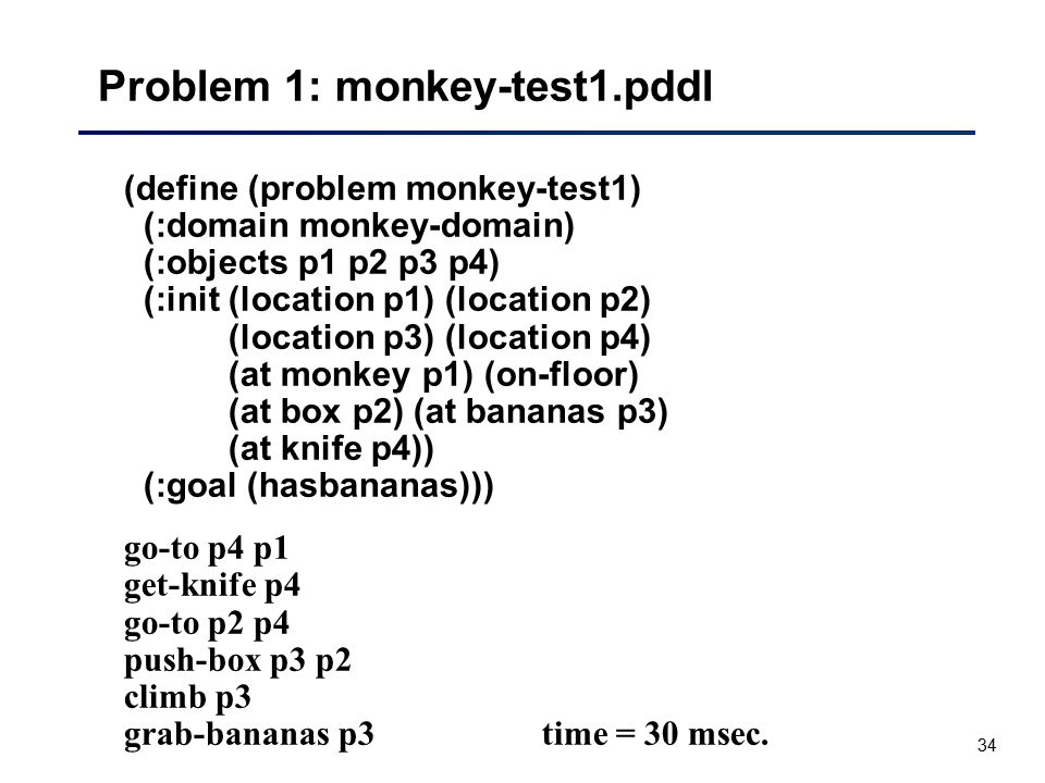 Problem 1: monkey-test1.pddl