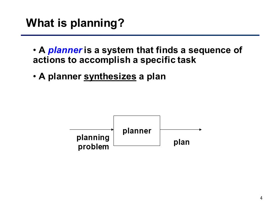 What is planning A planner is a system that finds a sequence of actions to accomplish a specific task.