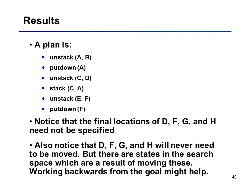 Results A plan is: unstack (A, B) putdown (A) unstack (C, D) stack (C, A) unstack (E, F) putdown (F)