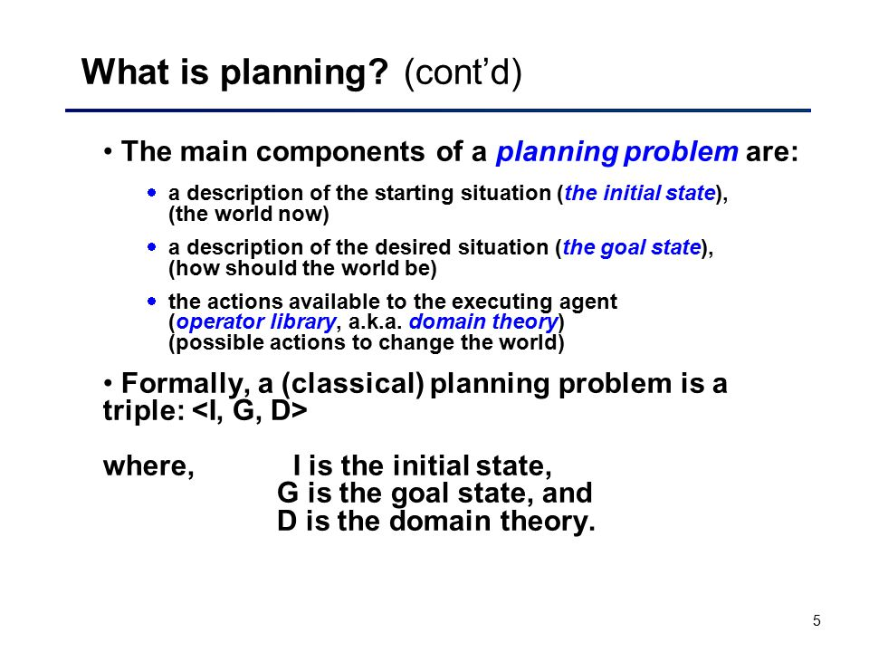 What is planning (cont'd)