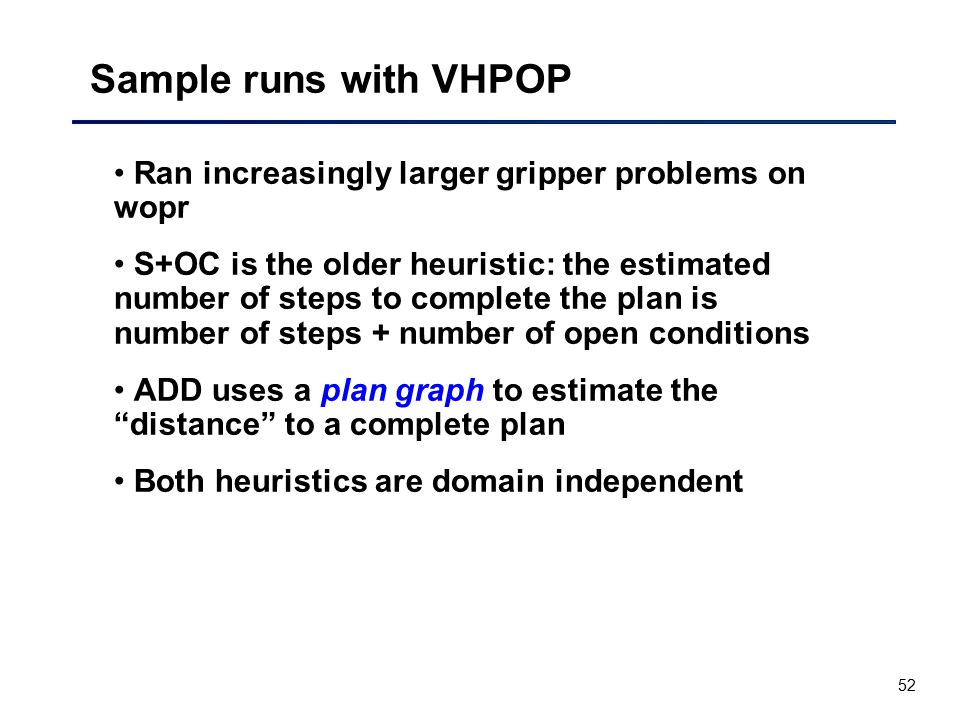 Sample runs with VHPOP Ran increasingly larger gripper problems on wopr.