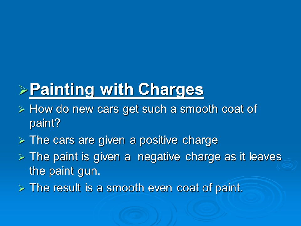 Painting with Charges How do new cars get such a smooth coat of paint