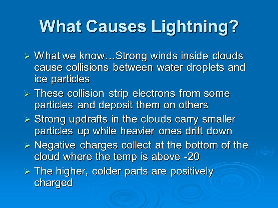 What Causes Lightning What we know…Strong winds inside clouds cause collisions between water droplets and ice particles.