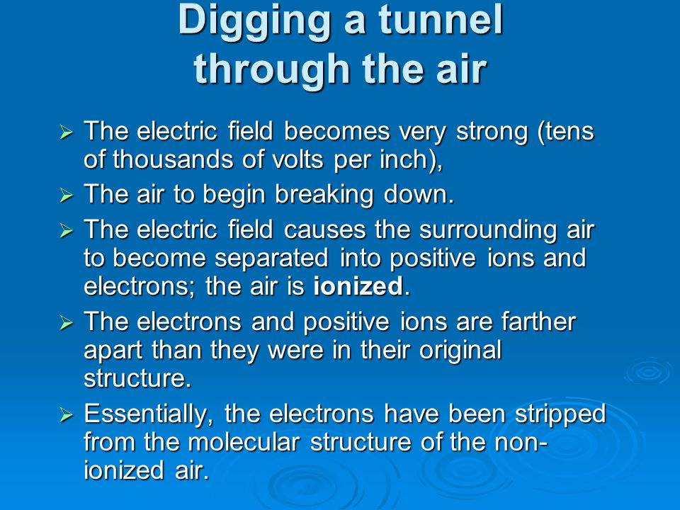 Digging a tunnel through the air