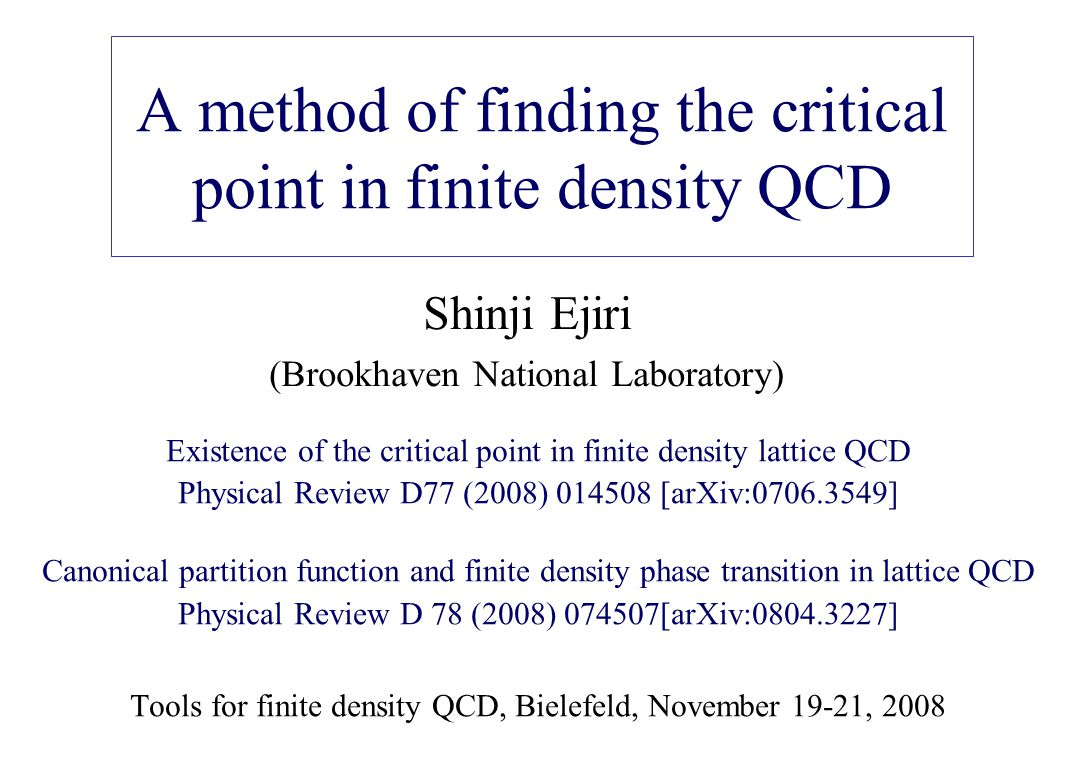 A method of finding the critical point in finite density QCD