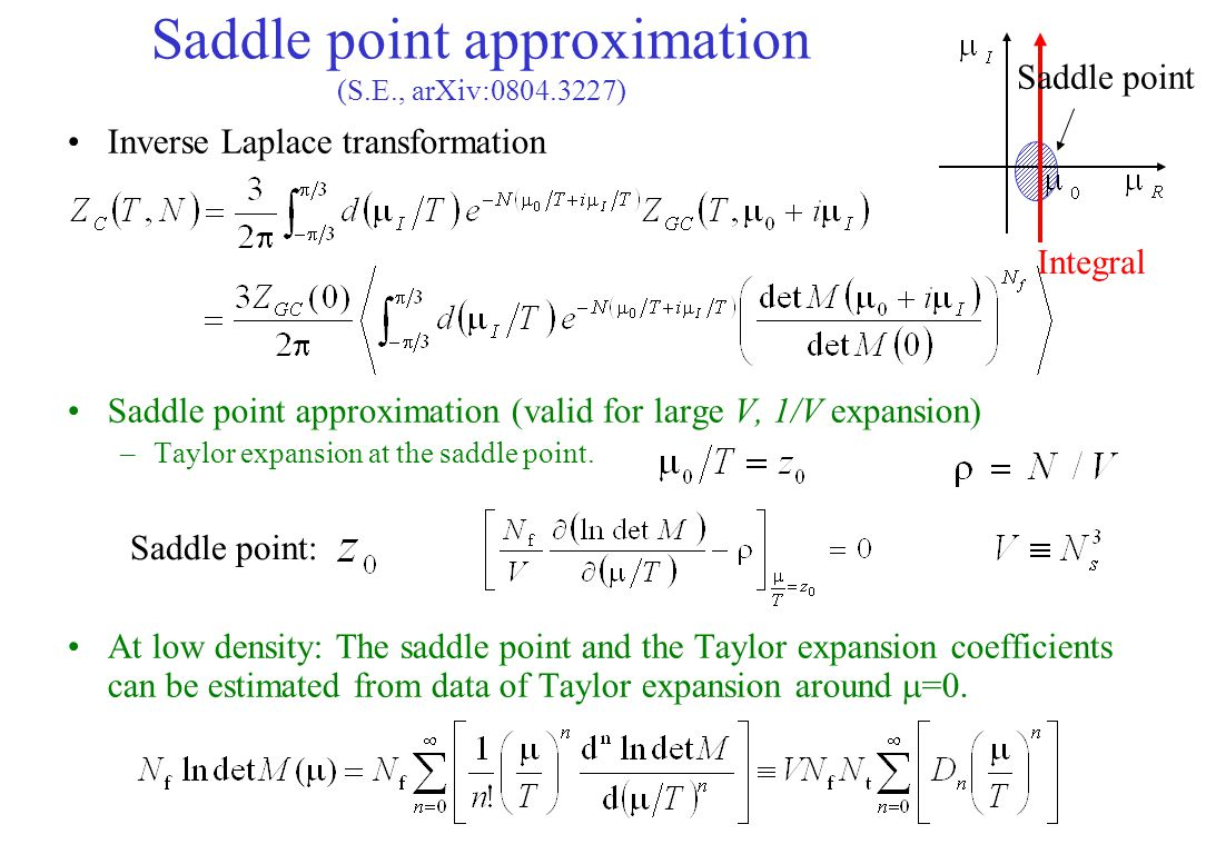 Saddle point approximation (S.E., arXiv:0804.3227)