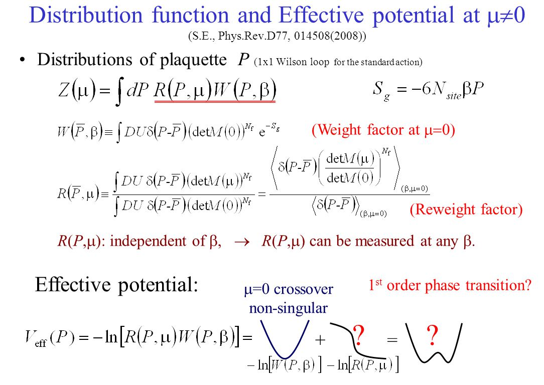 Distribution function and Effective potential at m0 (S.E., Phys.Rev.D77, 014508(2008))