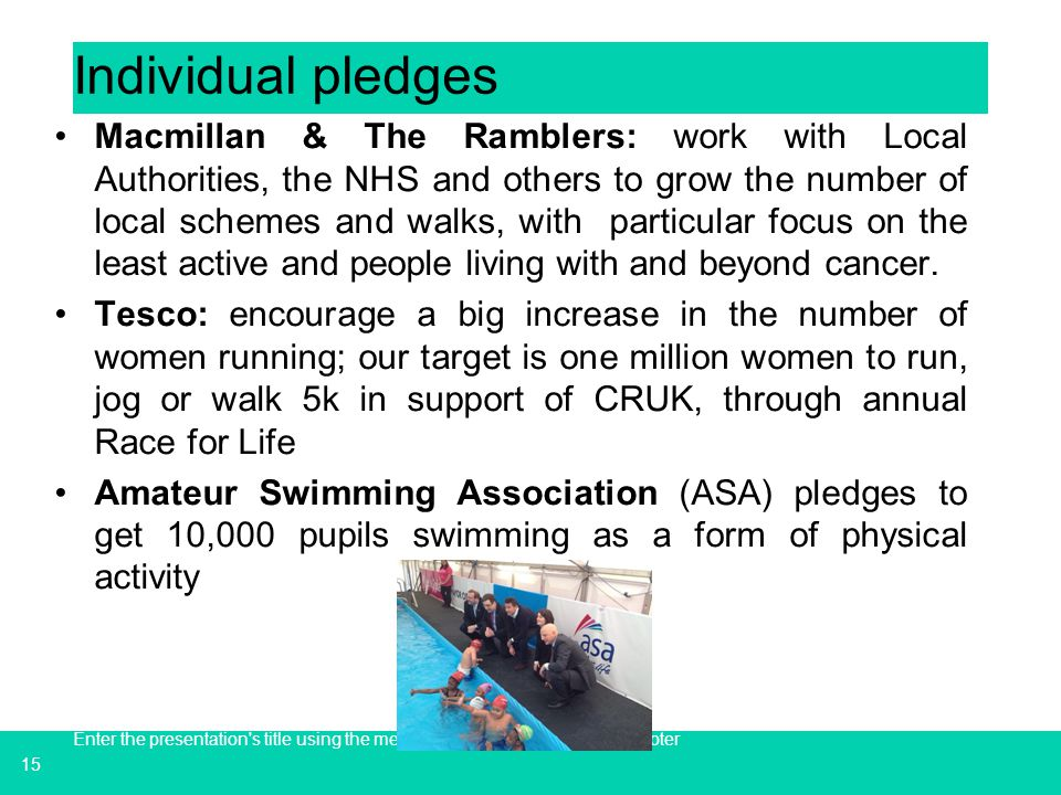 Individual pledges
