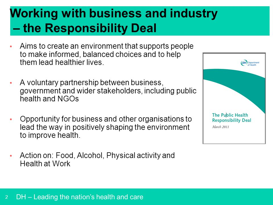 Working with business and industry – the Responsibility Deal