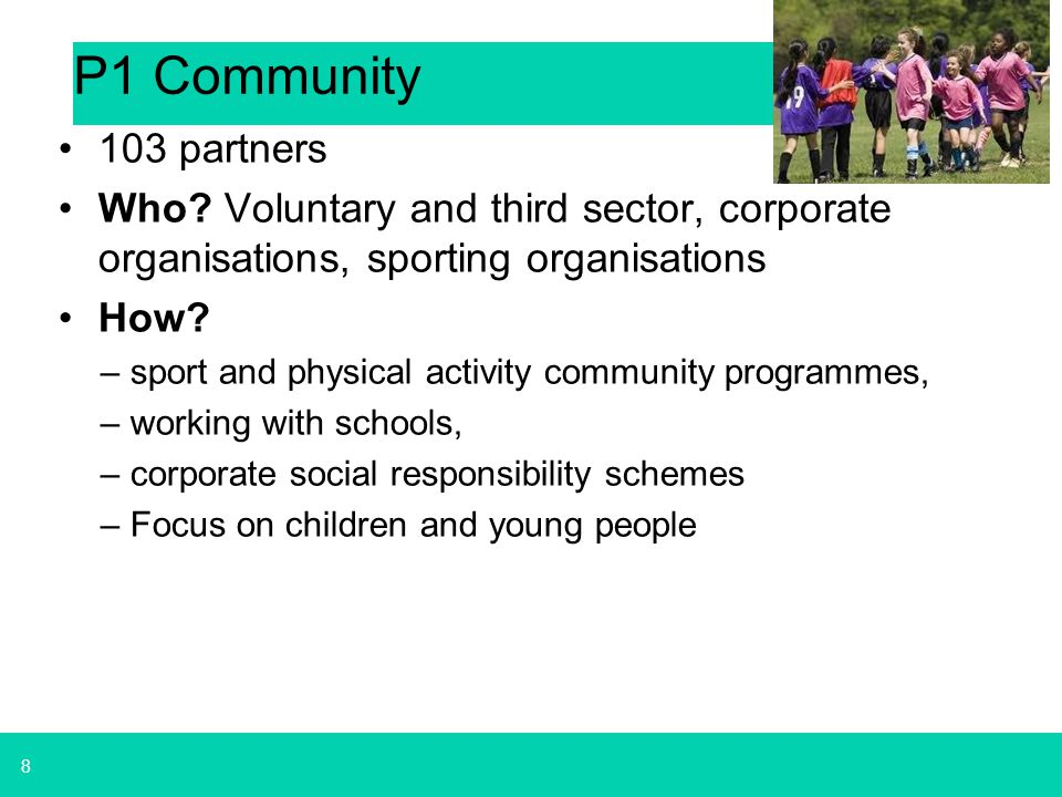 P1 Community 103 partners. Who Voluntary and third sector, corporate organisations, sporting organisations.