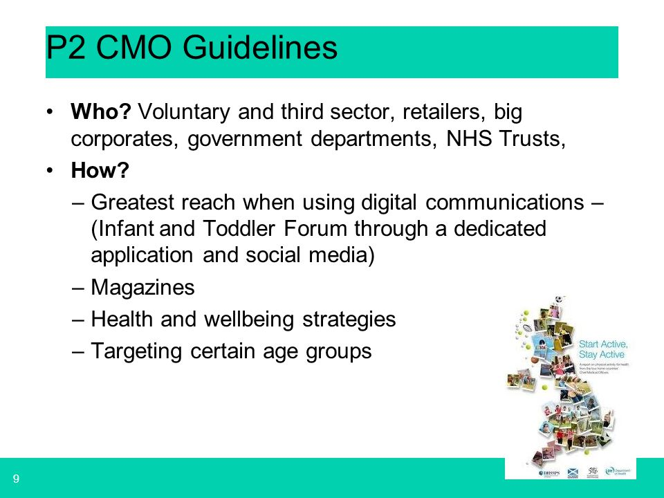 P2 CMO Guidelines Who Voluntary and third sector, retailers, big corporates, government departments, NHS Trusts,