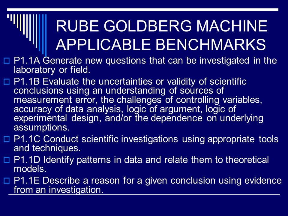 RUBE GOLDBERG MACHINE APPLICABLE BENCHMARKS