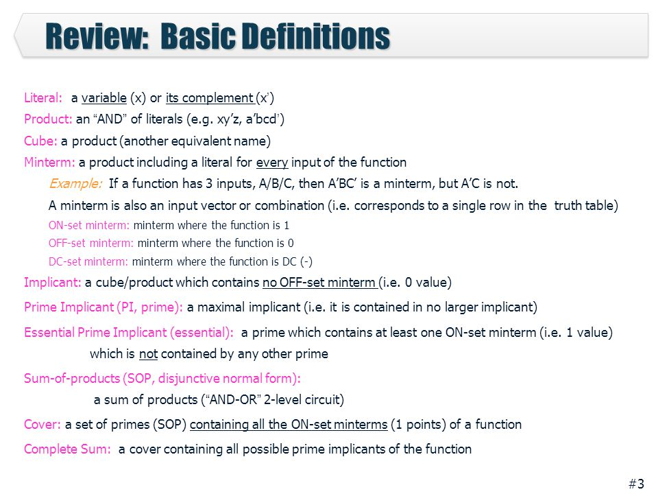 Review: Basic Definitions