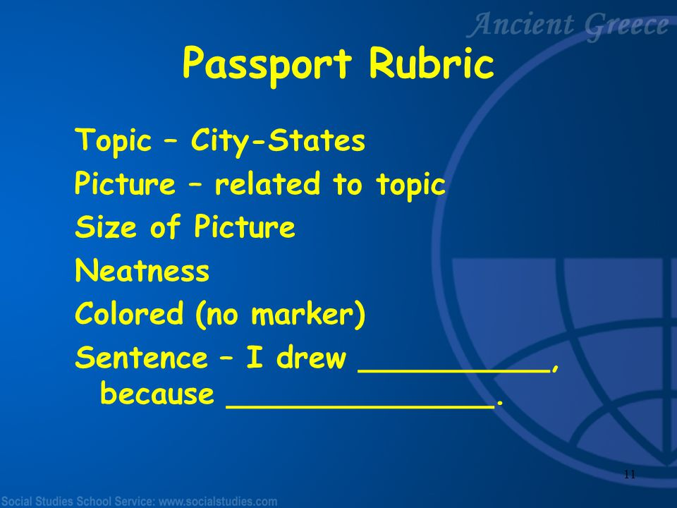Passport Rubric Topic – City-States Picture – related to topic