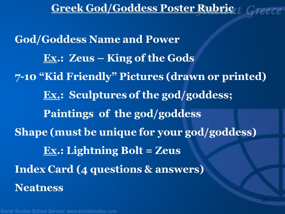 Greek God/Goddess Poster Rubric