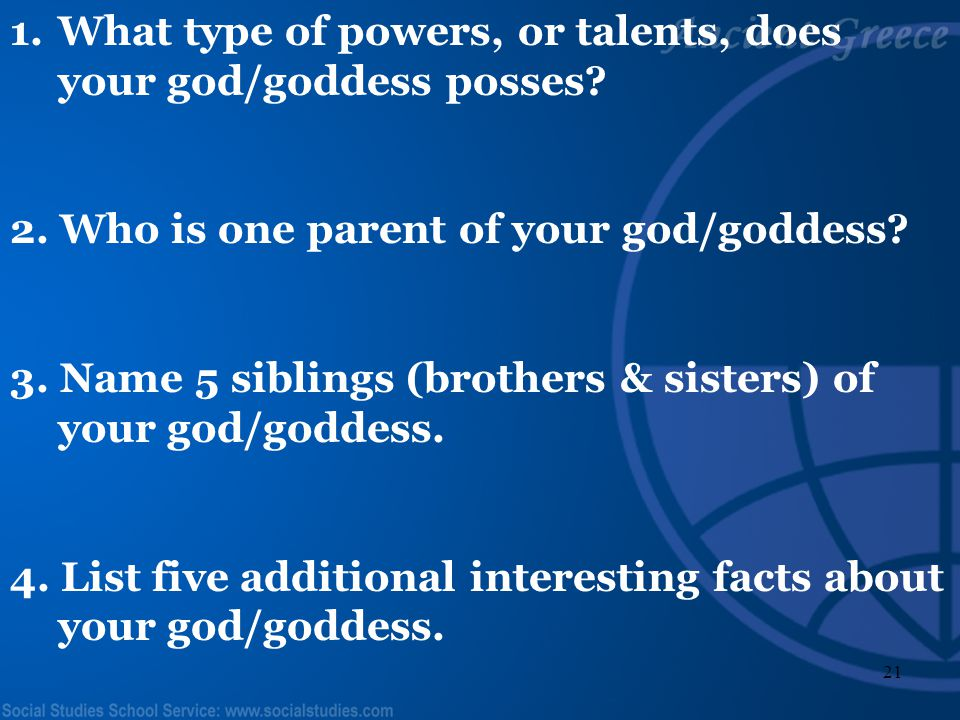 What type of powers, or talents, does your god/goddess posses