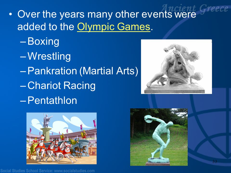Over the years many other events were added to the Olympic Games.