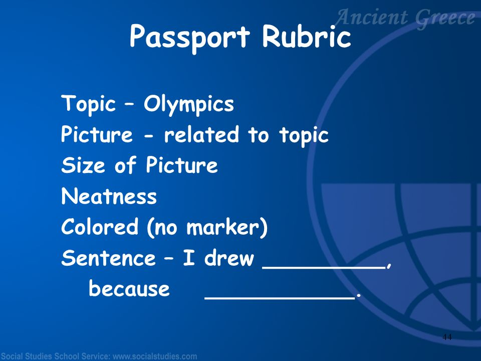 Passport Rubric Topic – Olympics Picture - related to topic