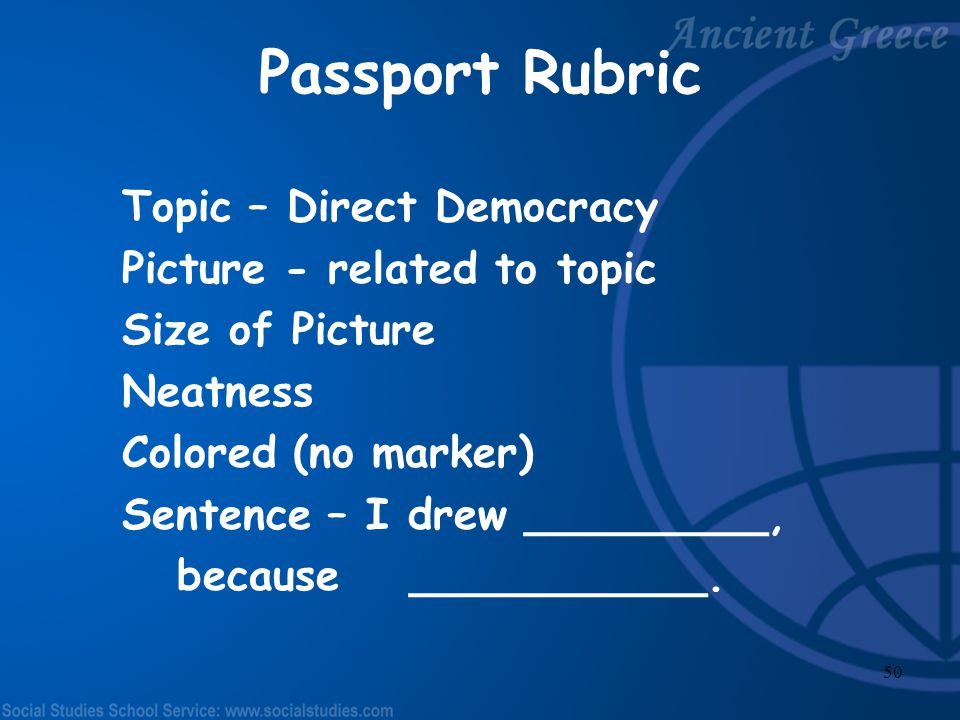 Passport Rubric Topic – Direct Democracy Picture - related to topic