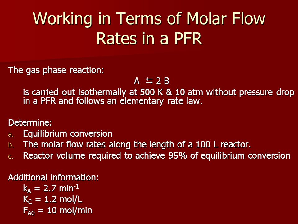 Working in Terms of Molar Flow Rates in a PFR