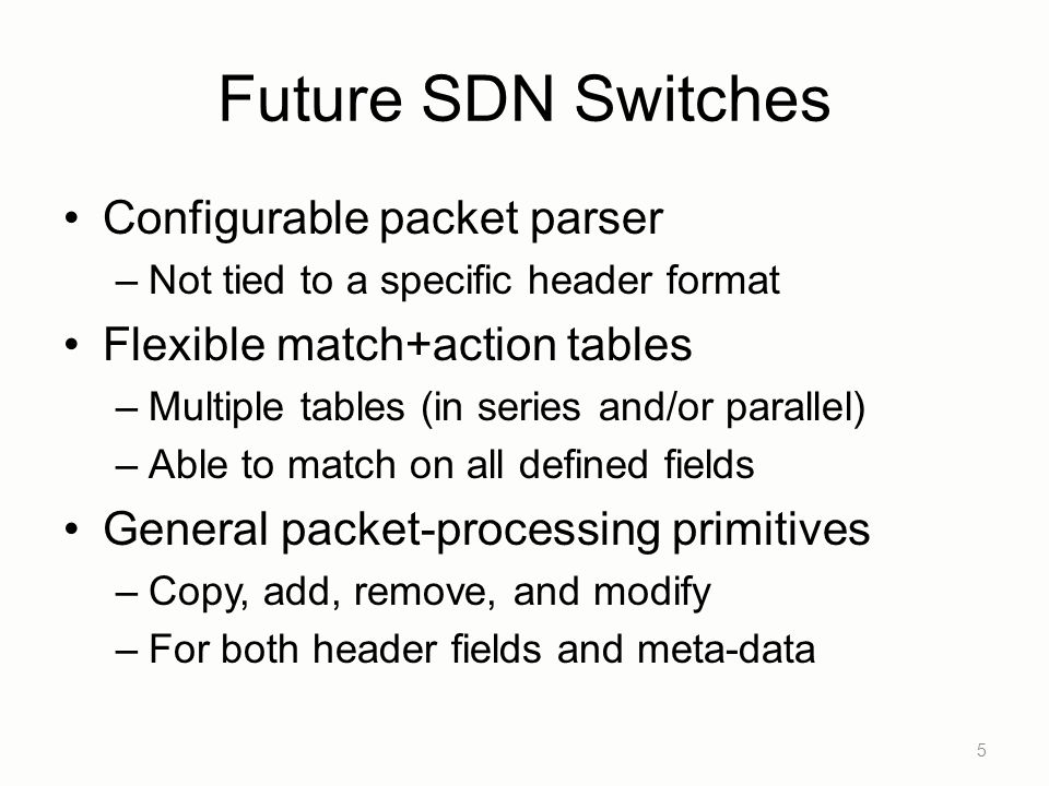 Future SDN Switches Configurable packet parser