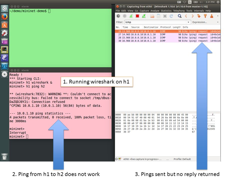 1. Running wireshark on h1 2. Ping from h1 to h2 does not work 3. Pings sent but no reply returned