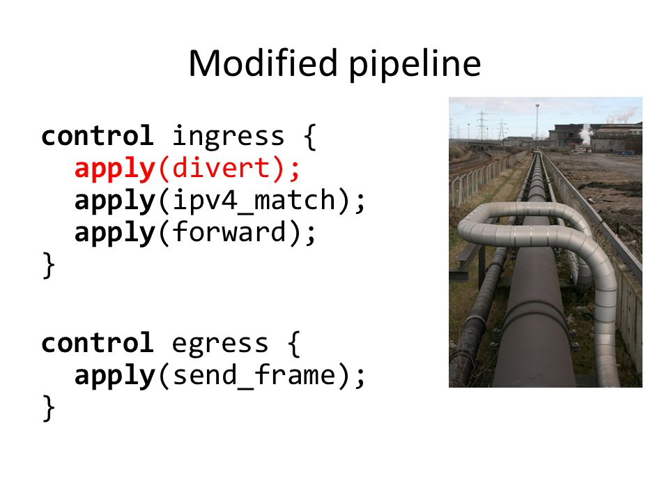 Modified pipeline control ingress { apply(divert); apply(ipv4_match); apply(forward); } control egress { apply(send_frame); }