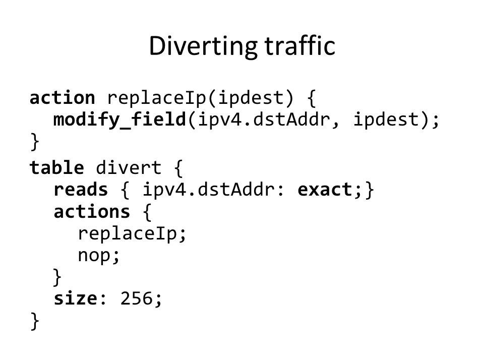 Diverting traffic