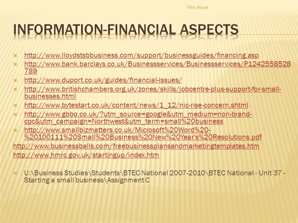 Information-financial Aspects