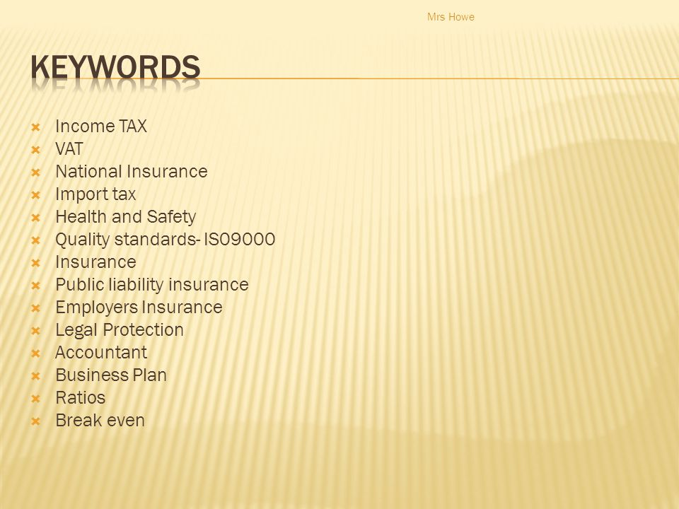 Keywords Income TAX VAT National Insurance Import tax