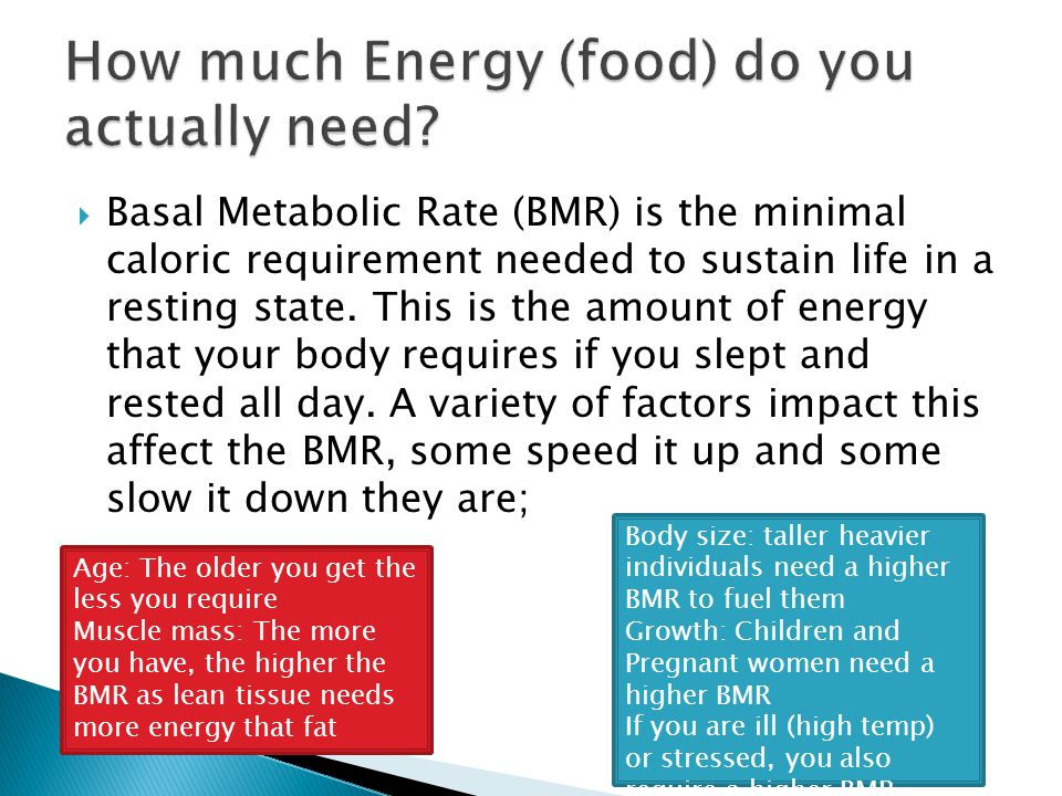 How much Energy (food) do you actually need